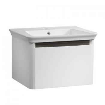 Tavistock Equate White Gloss & Grey Oak 600mm Wall Mounted Unit & Basin