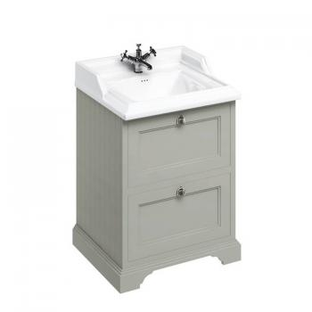 Burlington Olive 670mm Freestanding Vanity Unit With Drawers & Classic Basin
