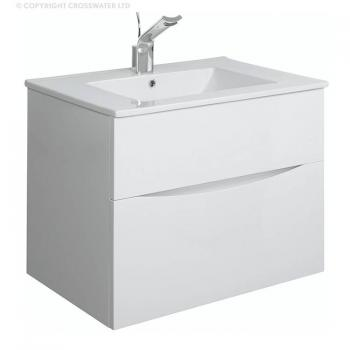 Bauhaus Glide II 70 White Gloss Vanity Unit & Ceramic Basin