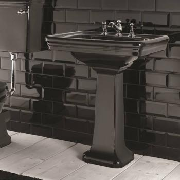 Imperial Etoile Black Large Basin and Pedestal