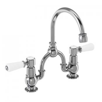 Burlington Kensington 2 Tap Hole Bridge Basin Mixer With Curved Spout