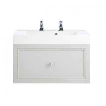 Heritage Caversham White Ash Wall Hung Vanity Unit With Hampstead Basin