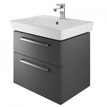 The White Space Scene 600mm Gloss Charcoal Wall Hung Vanity Unit & Basin