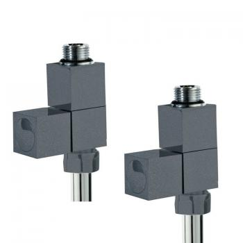 Phoenix Square Straight Anthracite Radiator Valves