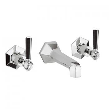 Crosswater Waldorf Black Lever Wall Mounted Basin 3 Hole Set