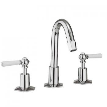Crosswater Waldorf White Lever Basin 3 Hole Set
