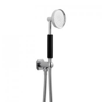 Crosswater Waldorf Shower Handset With Black Handle, Wall Outlet & Hose