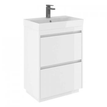 Bauhaus Zion White Gloss 600mm Floorstanding Vanity Unit & Basin