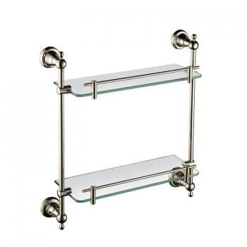 Heritage Holborn Vintage Gold Double Glass Shelf
