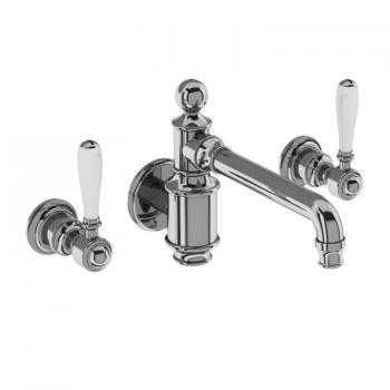 Arcade Chrome Wall Mounted Basin Mixer With Black, Chrome or White Levers