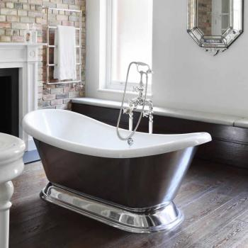 BC Designs Excelsior Polished Aluminium Freestanding Bath With Plinth