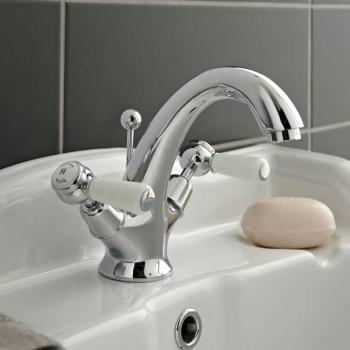 Hudson Reed Topaz White Lever Basin Mixer With Dome Collars