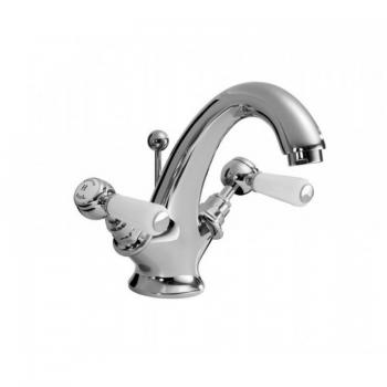 Hudson Reed Topaz White Lever Basin Mixer With Hexagonal Collars