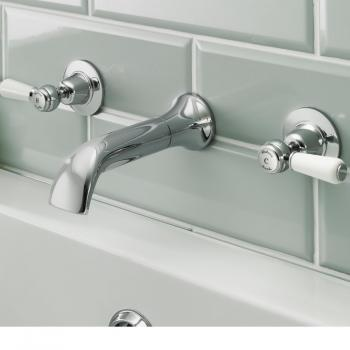 Hudson Reed Topaz White Lever Wall Mounted Bath Filler With Dome Collars