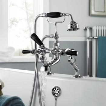 Hudson Reed Topaz Black Lever Bath Shower Mixer With Hexagonal Collars