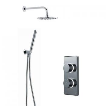 Britton Contemporary Digital Shower Valve, Wall Mounted Round Head & Handspray