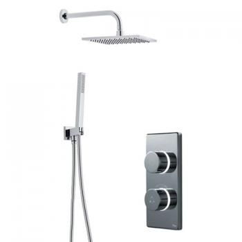 Britton Contemporary Digital Shower Valve, Wall Mounted Square Head & Handspray