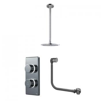 Britton Contemporary Digital Bath/Shower Valve, Ceiling Round Head & Overflow Bath Filler