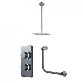 Britton Contemporary Digital Bath/Shower Valve, Ceiling Square Head & Overflow Bath Filler