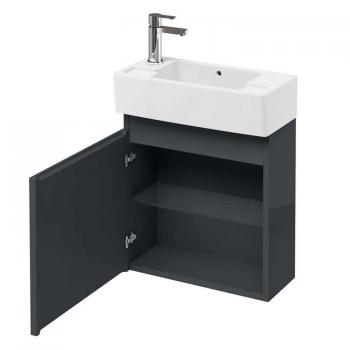 Aqua Cabinets Compact 25 Anthracite Wall Mounted Cloakroom Vanity Unit