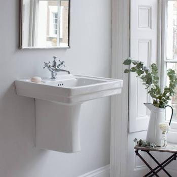 Burlington Contemporary Medium 58cm Basin & Semi Pedestal With Towel Rail Option