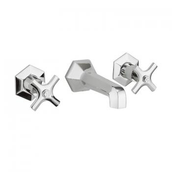 Crosswater Waldorf Chrome Crosshead Wall Mounted Basin 3 Hole Set