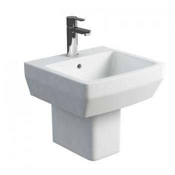 Britton Cube 500mm Basin & Square Fronted Semi Pedestal