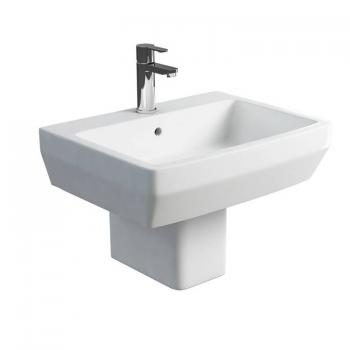 Britton Cube 600mm Basin & Square Fronted Semi Pedestal