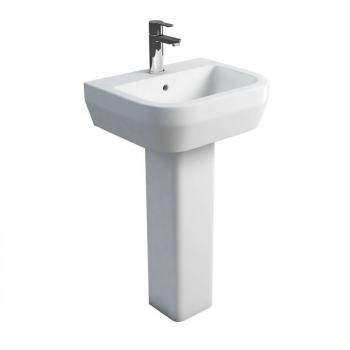 Britton Curve 500mm Basin & Square Fronted Pedestal