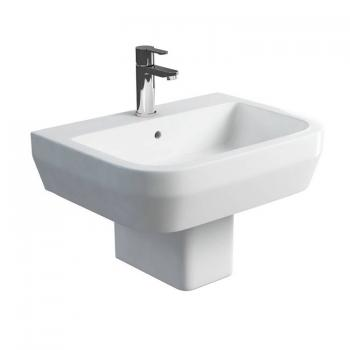 Britton Curve 600mm Basin & Square Fronted Semi Pedestal