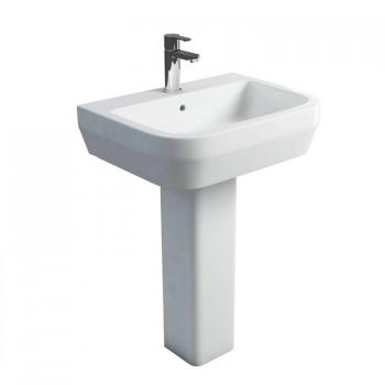 Britton Curve 600mm Basin & Square Fronted Pedestal