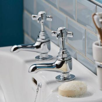 Heritage Dawlish Chrome Short Nose Basin Pillar Taps