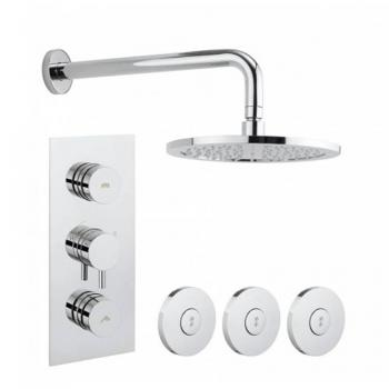 Crosswater Dial 2 Control Shower Valve With Kai Lever Trim, Shower Head & Body Jets