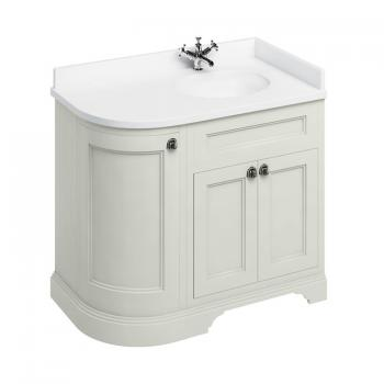 Burlington Sand 1000mm Curved Vanity Unit With Doors, Worktop & Basin - Right Hand