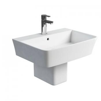 Britton Fine 600mm Basin & Square Fronted Semi Pedestal
