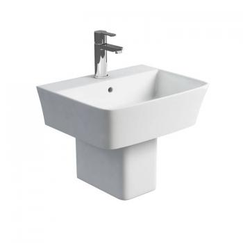Britton Fine 500mm Basin & Square Fronted Semi Pedestal