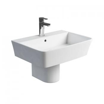 Britton Fine 600mm Basin & Round Fronted Semi Pedestal