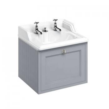 Burlington Grey 650mm Wall Hung Vanity Unit & Classic Basin With Invisible Overflow