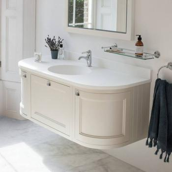 Burlington Sand 1340mm Wall Hung Curved Vanity Unit, Worktop & Basin