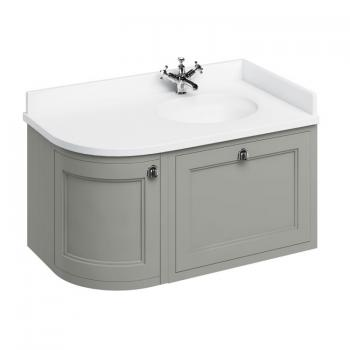 Burlington Olive 1000mm Wall Hung Curved Vanity Unit, Worktop & Basin - Right Hand
