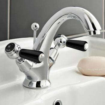 Hudson Reed Topaz Black Lever Basin Mixer With Dome Collars