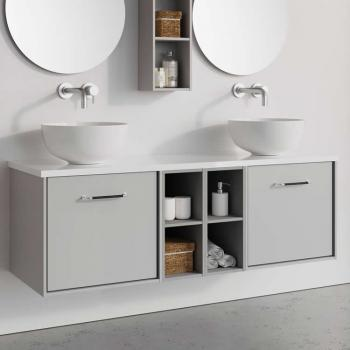 Crosswater Infinity 1400mm Storm Grey Two Drawer Vanity & Double Base Unit