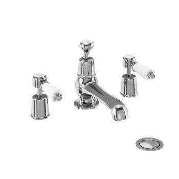 Burlington Kensington 3 Tap Hole Basin Mixer With Pop Up Waste