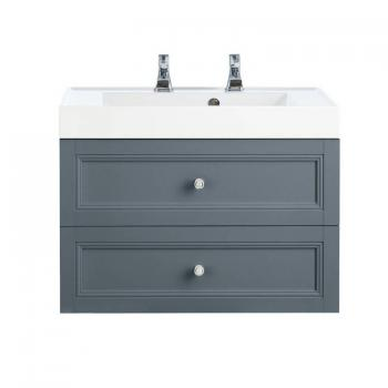 Heritage Caversham Graphite Wall Hung 2 Drawer Vanity Unit & Basin