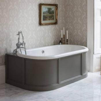 Burlington London Back To Wall Bath With Curved Surround