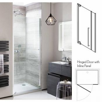 Simpsons Pier Hinged Shower Door With Inline Panel