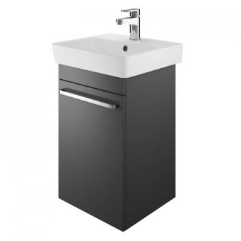 The White Space Scene 450mm Gloss Charcoal Cloakroom Vanity Unit & Basin