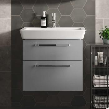 The White Space Scene 600mm Gloss Ash Grey Wall Hung Vanity Unit & Basin