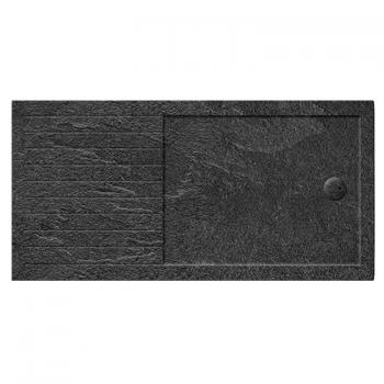 Simpsons 1400 x 900mm Grey Slate Effect Walk In 35mm Shower Tray With Drying Area