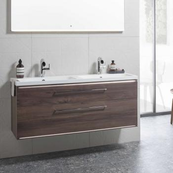 Roper Rhodes Scheme 1200mm Smoked Walnut Wall Mounted Vanity Unit & Basin
